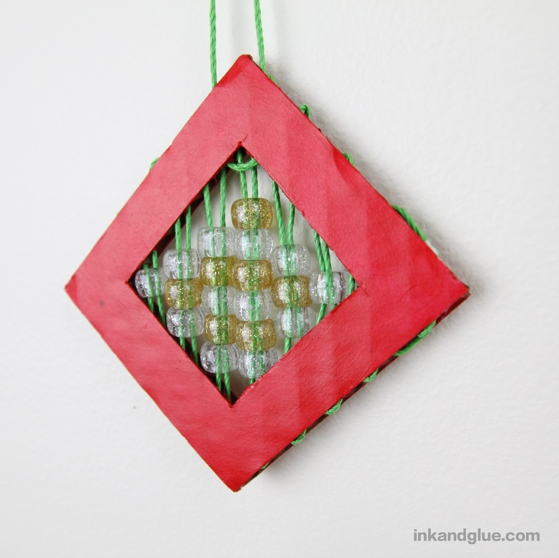 beaded cardboard Christmas ornament