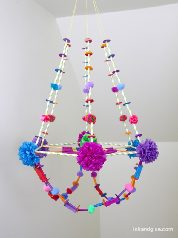 DIY pajaki paper and straw chandelier craft