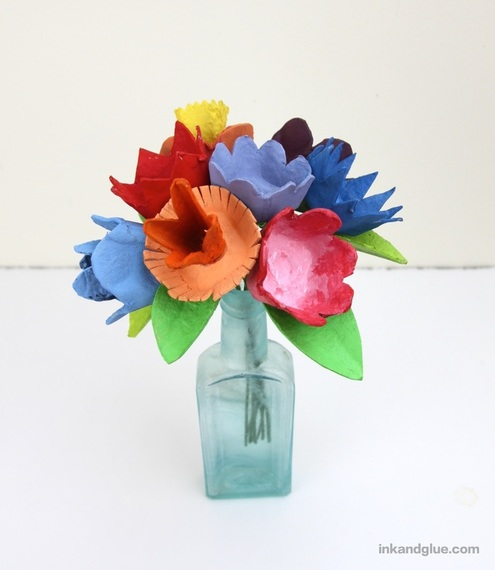 kids egg carton flower bouquet